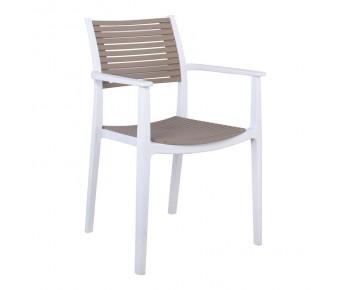 AKRON Πολυθρόνα PP-UV Άσπρο - Sand Beige