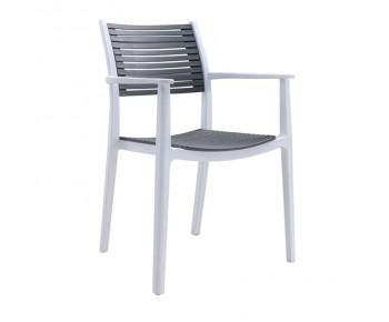 AKRON Πολυθρόνα PP-UV Άσπρο - Γκρι