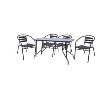 BALENO - FUNKY Set Τραπεζαρία Κήπου : Τραπέζι + 4 Πολυθρόνες Μέταλλο - Αλουμίνιο Ανθρακί