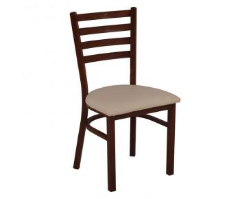 NATURALE Καρέκλα Τραπεζαρίας Κουζίνας, Μέταλλο Βαφή Καρυδί, PU Μπεζ