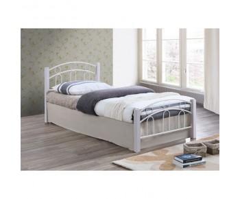NORTON Κρεβάτι Μονό Μέταλλο Βαφή Άσπρο - Ξύλο Άσπρο
