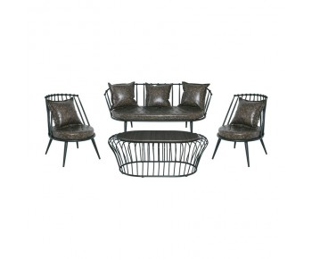 ESCORT Σαλόνι Κήπου Βεράντας : Τραπέζι+ Καναπές +2 Πολυθρόνες Μέταλλο Μαύρο-Pu Antique Brown