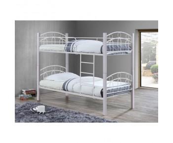 NORTON Κρεβάτι Κουκέτα Μέταλλο Βαφή Άσπρο, Ξύλο Άσπρο