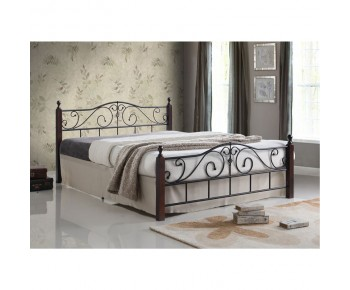 ADEL Κρεβάτι Διπλό Μέταλλο Βαφή Μαύρο - Ξύλο Απόχρωση Καρυδί