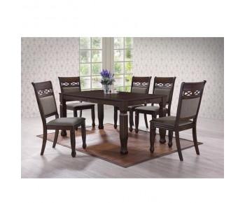DEBBY Set Τραπεζαρία Σαλονιού Ξύλινη: Τραπέζι + 6 Καρέκλες Σκούρο Καρυδί -Ύφασμα Καφέ