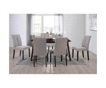 CLARK Set Τραπεζαρία Σαλονιού Ξύλινη : Τραπέζι + 6 Καρέκλες Σκούρο Καρυδί -Ύφασμα Καφέ