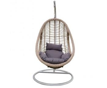 MACAN-II Κρεμαστή Πολυθρόνα Άσπρο, Grey Μαξιλάρι Γκρι