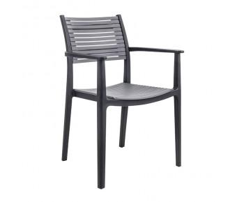 AKRON Πολυθρόνα PP-UV Μαύρο - Γκρι