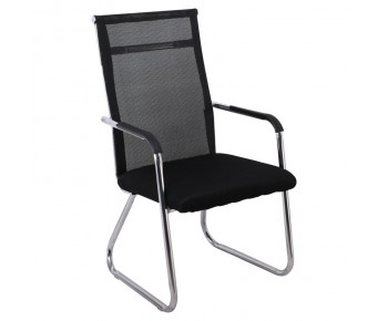 ALTA Πολυθρόνα Γραφείου Επισκέπτη Χρώμιο - Mesh Μαύρο