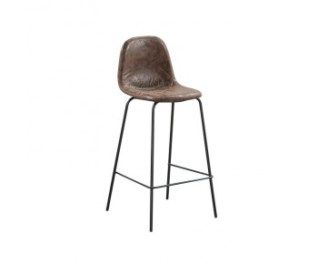 CELINA Σκαμπώ BAR (καθ.67cm) Μέταλλο Βαφή Μαύρο - Ύφασμα Suede Καφέ
