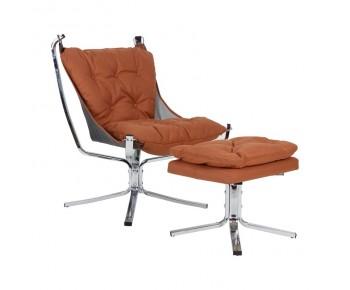 SANTANA Set Relax Πολυθρόνα - Μπερζέρα + Σκαμπό -Υποπόδιο Χρώμιο / Ύφασμα Nabuk Ταμπά