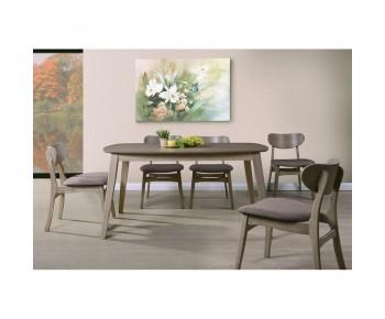 DOM Set Τραπεζαρία Σαλόνι Κουζίνα : Τραπέζι + 6 Καρέκλες Smoke Beech - Ύφασμα Καφέ