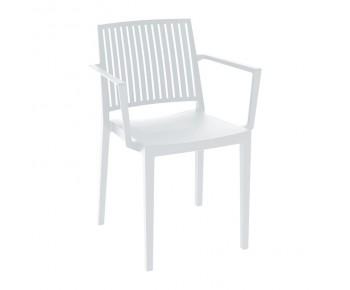 CARMEN Πολυθρόνα Στοιβαζόμενη, PP-UV Άσπρο