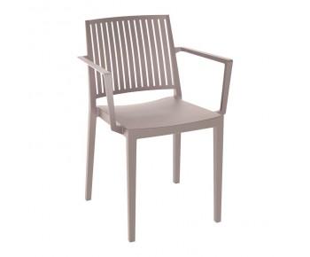 CARMEN Πολυθρόνα Στοιβαζόμενη, PP-UV Tortora