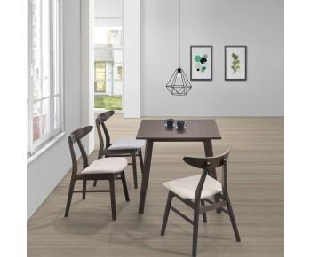 HORIZON Set Τραπεζαρία Ξύλινη Σαλονιού - Κουζίνας: Τραπέζι + 4 Καρέκλες / Wenge-Ύφασμα Μπεζ