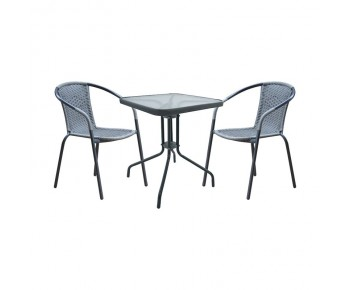 BALENO Set Κήπου - Βεράντας : Τραπέζι + 2 Πολυθρόνες Μέταλλο Γκρι - Wicker Mixed Grey