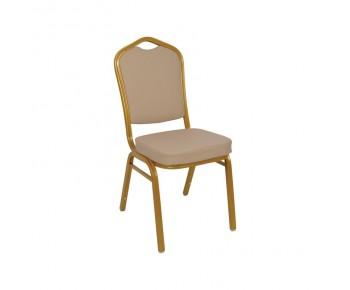 HILTON *Διαλογής* Καρέκλα Μεταλλική Gold/Pu Cappuccino