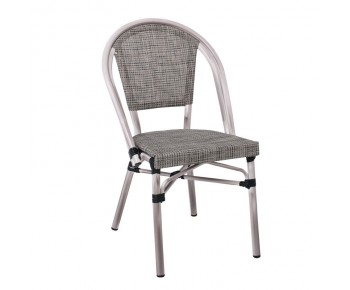 COSTA Καρέκλα Dining Αλουμινίου, Απόχρωση Antique Grey -Textilene Μπεζ