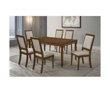 BARCO Set Τραπεζαρία Σαλονιού: Τραπέζι + 6 Καρέκλες Ξύλο Ανοιχτό Καρυδί - Ύφασμα Μπεζ