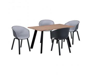 OPTIM Set Α Τραπεζαρία:Τραπέζι + 4 Πολυθρόνες Μέταλλο Μαύρο / PP ΜαύροΎφασμα Ανοιχτό Γκρι