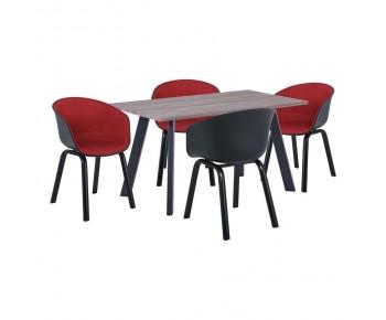 OPTIM Set Α Τραπεζαρία:Τραπέζι + 4 Πολυθρόνες Μέταλλο Μαύρο / PP ΜαύροΎφασμα Μπορντώ