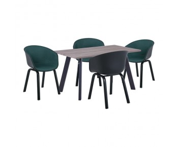 OPTIM Set Α Τραπεζαρία:Τραπέζι + 4 Πολυθρόνες Μέταλλο Μαύρο / PP Μαύρο Ύφασμα Πράσινο