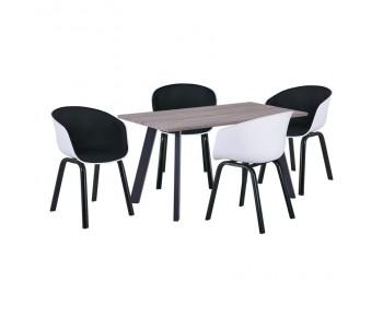 OPTIM Set Α Τραπεζαρία:Τραπέζι + 4 Πολυθρόνες Μέταλλο Μαύρο / PP Άσπρο Ύφασμα Μαύρο