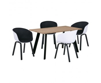 OPTIM Set C Τραπεζαρία:Τραπέζι + 4 Πολυθρόνες Μέταλλο  Μαύρο / PP Άσπρο Ύφασμα Μαύρο