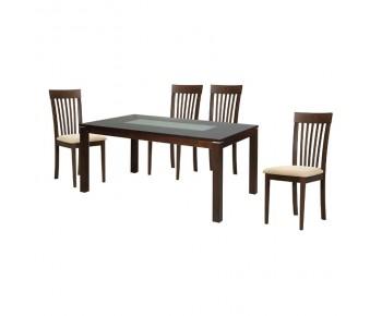DIAMOND-CORINA Set Τραπεζαρία Σκούρο Καρυδί - Pvc Εκρού : Τραπέζι 150x90cm + 4 Καρέκλες