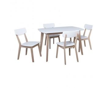 CALVIN Set Τραπεζαρία Σαλονιού Κουζίνας White Wash - Άσπρο : Τραπέζι 150x90cm + 4 Καρέκλες