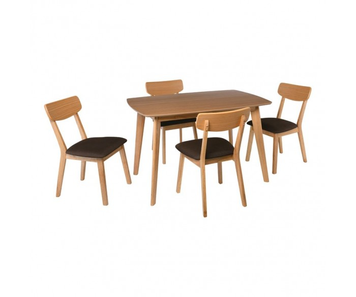 CALVIN Set Τραπεζαρία Σαλονιού Φυσικό - Ύφασμα Σκούρο Καφέ : Τραπέζι 150x90cm + 4 Καρέκλες