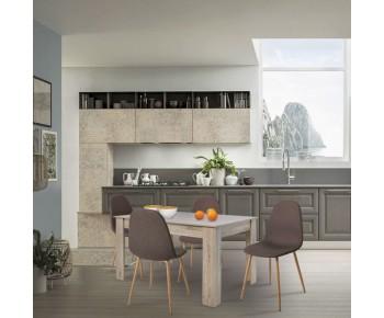 COMMON Set Τραπεζαρία: Τραπέζι 134x90cm Sonoma + 4 Καρέκλες Μέταλλο Βαφή ΦυσικόΎφασμα Καφέ
