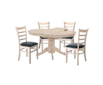 NIRVANA Τραπεζαρία Σαλονιού Κουζίνας WhiteWash-PU: Τραπέζι Επεκτεινόμενο + 4 Καρέκλες