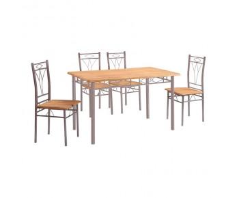 MARLOW Set Τραπεζαρία Κουζίνας Μέταλλο Silver Φυσικό : Τραπέζι 120x70cm + 4 Καρέκλες