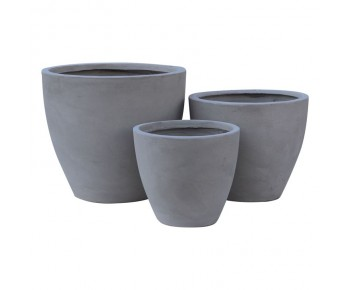 FLOWER POT-3  Set 3 τεμαχίων Cement Grey