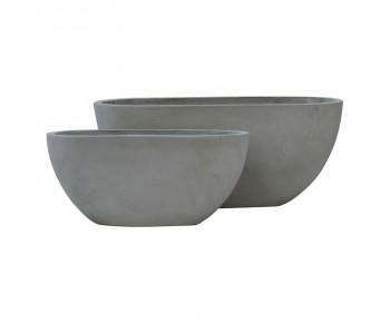 FLOWER POT-4  Set 2 τεμαχίων Cement Grey