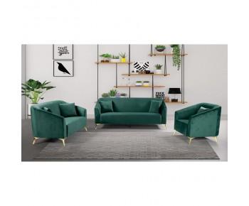 LUXE Set Σαλόνι : 3Θέσιος + 2Θέσιος + Πολυθρόνα, Ύφασμα Velure Απόχρωση Πράσινο