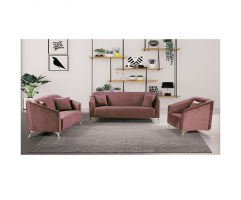 LUXE Set Σαλόνι : 3Θέσιος + 2Θέσιος + Πολυθρόνα, Ύφασμα Velure Απόχρωση Antique Pink