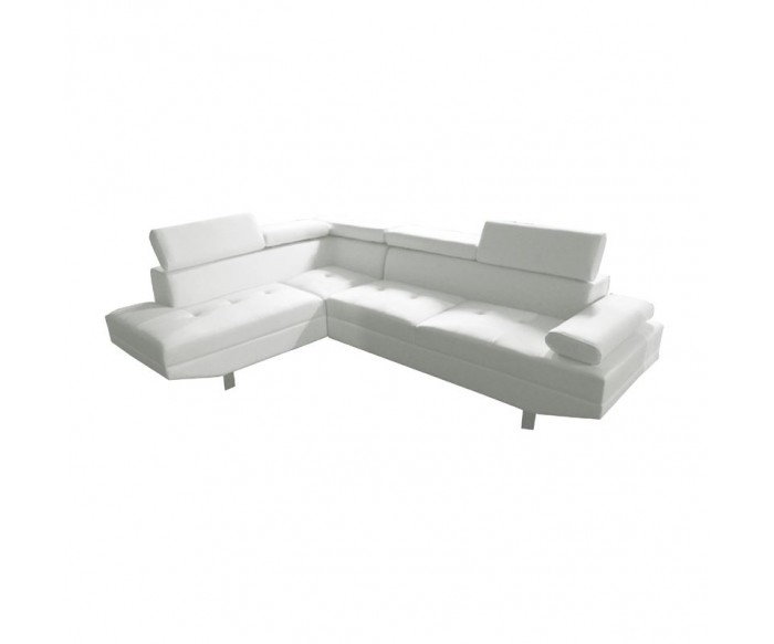 SECTOR Καναπές Σαλονιού Δεξιά Γωνία - Ανακλινόμενα Κεφαλάρια - Pu Άσπρο