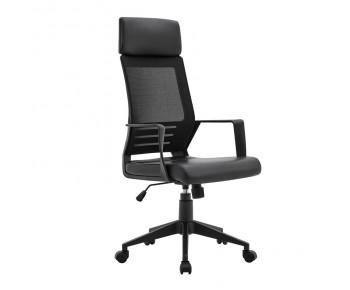 BF2500 Πολυθρόνα Γραφείου Διευθυντή Mesh Μαύρο - Pu Μαύρο