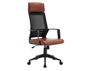 BF2500 Πολυθρόνα Γραφείου Διευθυντή Mesh Μαύρο - Pu Καφέ