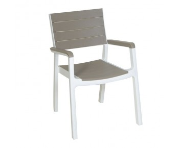 AIGLI Πολυθρόνα Στοιβαζόμενη , PP Άσπρο - Cappuccino